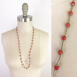 Long Bohemian Single Strand Coral Beaded Necklace